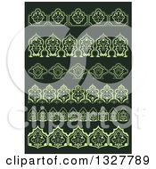 Green Floral Decorative Arabesque Borders On Dark Green