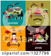 Clipart Of Flat Design Seafood Asia And Japanese Designs Royalty Free Vector Illustration
