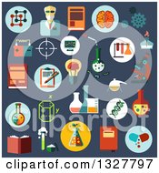 Clipart Of Flat Design Science Experiment Icons On Blue Royalty Free Vector Illustration