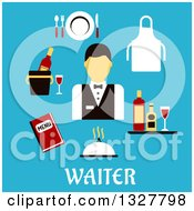 Clipart Of A Flat Design Waiter With Items Over Text On Blue Royalty Free Vector Illustration