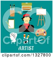 Clipart Of A Flat Design French Artist With Utensils Over Text On Turquoise Royalty Free Vector Illustration by Vector Tradition SM