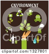 Clipart Of A Flat Design Hand Holding Green Tree Surrounded By Bio Fuel Recycling Green Energy Pollution Industry Emissions Icons On Brown Royalty Free Vector Illustration