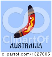 Clipart Of A Flat Design Boomerang Over Australia Text On Blue Royalty Free Vector Illustration by Vector Tradition SM