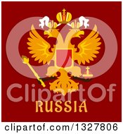 Clipart Of A Flat Design Russian Flat Doubleheaded Imperial Eagle With Text Over Red Royalty Free Vector Illustration