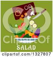 Clipart Of A Flat Design Cutting Board With Veggies In A Salad Bowl Over Text On Green Royalty Free Vector Illustration