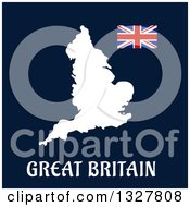 Clipart Of A White Great Britain Map With A Flag On Blue Royalty Free Vector Illustration by Vector Tradition SM