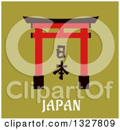 Clipart Of A Flat Design Japanese Traditional Torii Gate Over Text On Green Royalty Free Vector Illustration by Vector Tradition SM