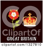 Clipart Of A Flat Design Great Britain Tudor Rose And Coronation St Edwards Crown Over Text Royalty Free Vector Illustration