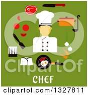 Clipart Of A Flat Design Male Chef With Food Over Text On Green Royalty Free Vector Illustration