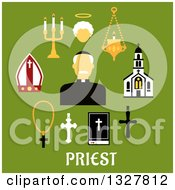 Clipart Of A Flat Design Catholic Priest In Black Robe Clerical Collar And Zucchetto Encircled By Church Building Crosses Bible Mitre Candelabras And Angel Silhouette Royalty Free Vector Illustration
