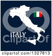 Flat Design White Italy Map Flag And Text On Blue
