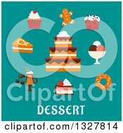 Clipart Of A Flat Design Cake And Other Desserts Over Text On Turquoise Royalty Free Vector Illustration by Vector Tradition SM