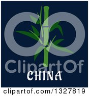 Clipart Of A Flat Design Bamboo Stalk Over China Text On Blue Royalty Free Vector Illustration by Vector Tradition SM
