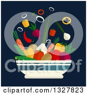 Clipart Of A Flat Design Bowl Of Veggies Over Blue Royalty Free Vector Illustration by Vector Tradition SM