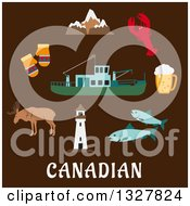 Clipart Of A Flat Design Of The Rocky Mountains Lighthouse Elk Mittens Beer Tankard Lobster Fish And Fishing Trawler Over Canadian Text On Brown Royalty Free Vector Illustration by Vector Tradition SM
