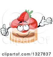 Clipart Of A Cartoon Strawberry Cake Character Giving A Thumb Up And Presenting Royalty Free Vector Illustration by Vector Tradition SM
