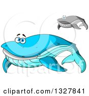 Clipart Of Cartoon Happy Blue And Gray Whales Royalty Free Vector Illustration