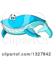 Clipart Of A Cartoon Happy Blue Whale Royalty Free Vector Illustration
