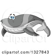 Clipart Of A Cartoon Happy Gray Whale With Blue Eyes Royalty Free Vector Illustration