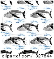 Clipart Of A Seamless Baleen Whale And Waves Background Pattern 2 Royalty Free Vector Illustration