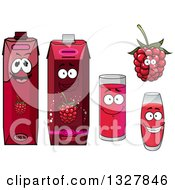 Clipart Of A Happy Raspberry Character Cups And Juice Cartons 3 Royalty Free Vector Illustration