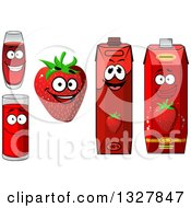 Clipart Of A Smiling Strawberry Character And Juice 4 Royalty Free Vector Illustration