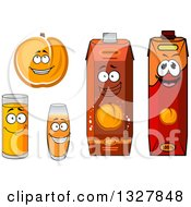 Clipart Of A Cartoon Apricot Character And Juices 2 Royalty Free Vector Illustration