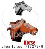 Clipart Of Brown And Grayscale Tough Stallion Horse Heads 2 Royalty Free Vector Illustration