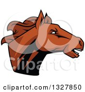 Clipart Of A Brown Tough Stallion Horse Head 2 Royalty Free Vector Illustration