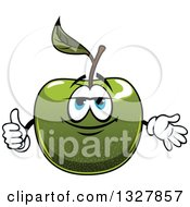 Clipart Of A Happy Green Apple Presenting And Giving A Thumb Up Royalty Free Vector Illustration