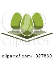Clipart Of Green Egg Shaped Shrubs In A Garden Royalty Free Vector Illustration