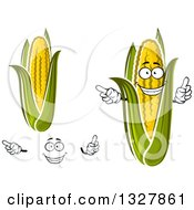 Clipart Of A Cartoon Happy Face Hands And Corn Royalty Free Vector Illustration