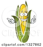 Clipart Of A Cartoon Happy Corn Character Pointing And Holding Up A Finger Royalty Free Vector Illustration
