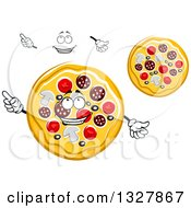 Clipart Of A Cartoon Face Hands And Pizzas Royalty Free Vector Illustration
