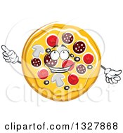 Clipart Of A Cartoon Pizza Character Holding Up A Finger Royalty Free Vector Illustration