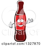 Clipart Of A Cartoon Soda Bottle Character Presenting And Giving A Thumb Up Royalty Free Vector Illustration