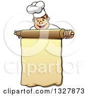 Clipart Of A Cartoon Happy White Male Chef Holding A Rolling Pin Menu Royalty Free Vector Illustration