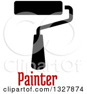 Clipart Of A Black Paint Roller Brush Over Red Text Royalty Free Vector Illustration by Vector Tradition SM