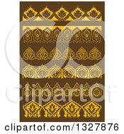 Golden Floral Decorative Arabesque Borders On Brown