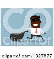 Clipart Of A Flat Modern Design Styled Black Businessman Robber Running With A Sack Over Blue Royalty Free Vector Illustration