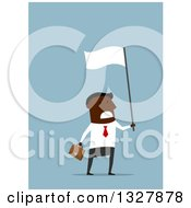 Clipart Of A Flat Modern Black Businessman Waving A White Flag In Surrender Over Blue Royalty Free Vector Illustration by Vector Tradition SM
