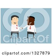 Clipart Of A Flat Design Of Happy White And Black Business Men Shaking Hands On A Deal Over Blue Royalty Free Vector Illustration