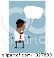 Clipart Of A Flat Design Black Businessman Thinking Over Blue Royalty Free Vector Illustration by Vector Tradition SM