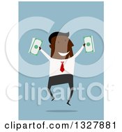 Clipart Of A Flat Design Black Businessman Jumping With Cash Money Over Blue Royalty Free Vector Illustration