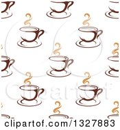 Clipart Of A Seamless Background Pattern Of Steamy Brown Coffee Cups 8 Royalty Free Vector Illustration