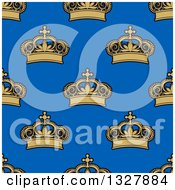 Clipart Of A Seamless Pattern Background Of Gold Crowns On Blue 2 Royalty Free Vector Illustration