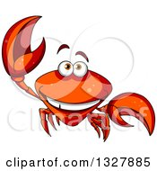 Cartoon Happy Crab Smiling And Waving