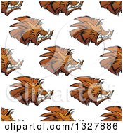 Clipart Of A Seamless Background Pattern Of Razorback Boar Faces Royalty Free Vector Illustration by Vector Tradition SM