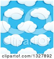 Clipart Of A Seamless Pattern Background Of Puffy Clouds In A Blue Sky 8 Royalty Free Vector Illustration by Vector Tradition SM