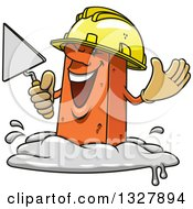 Clipart Of A Cartoon Mason Brick Character Holding A Trowel Royalty Free Vector Illustration